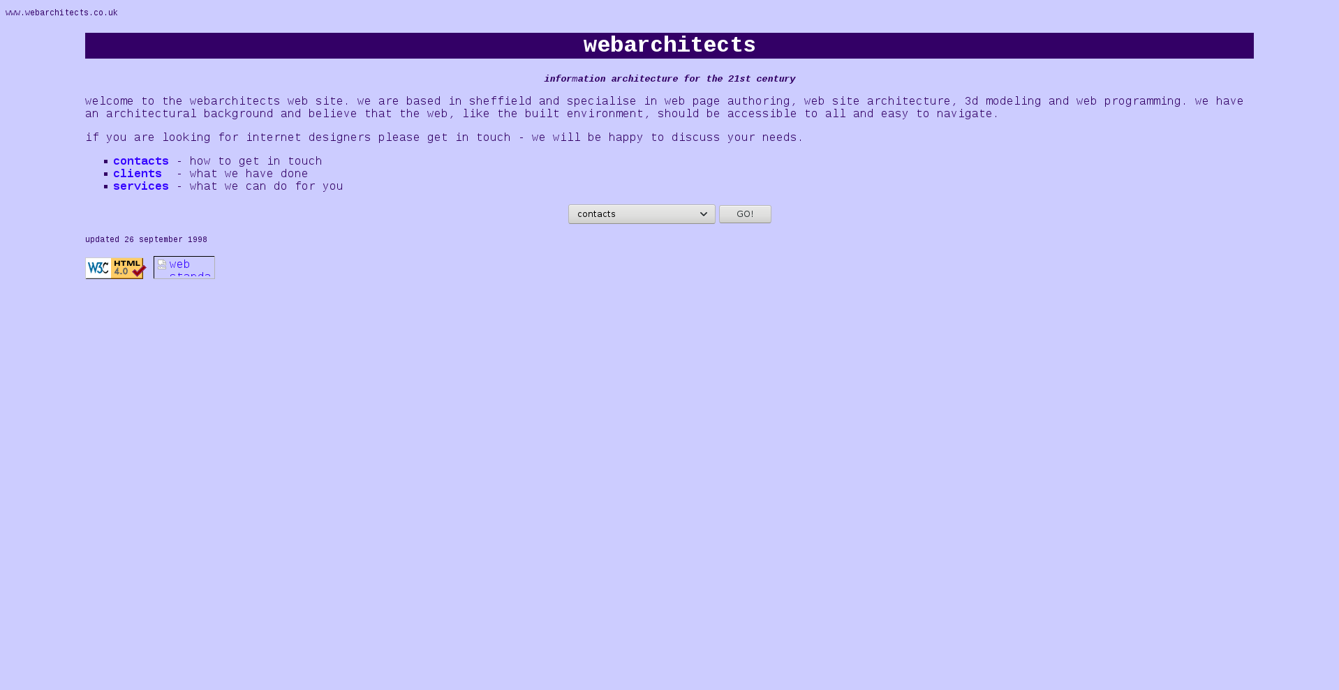 Screenshot of www.webarchitects.co.uk from 1998